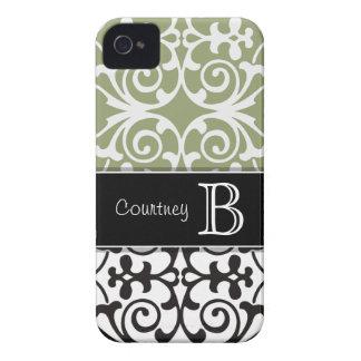 Black White Olive Green Damask Monogram iPhone4/4s iPhone 4 Case