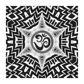 Black+White Om Star Trip Mandala Canvas