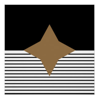 Black White Op Art Brown Diamond Poster