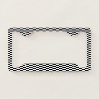 Black & White Optical Illusion. Checker Pattern. License Plate Frame