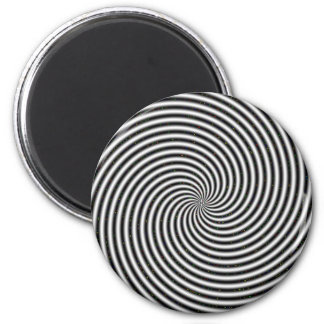 Black & White Optical Illusion Spiral 2 Inch Round Magnet