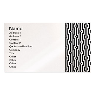 Black white optical illusions bent lines diamonds business card template