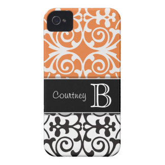 Black White Orange Damask Personalized iPhone 4/4s iPhone 4 Case-Mate Case