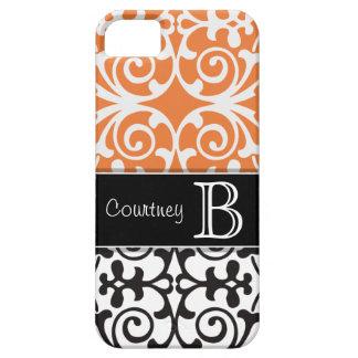 Black White Orange Damask Personalized iPhone 5 iPhone SE/5/5s Case
