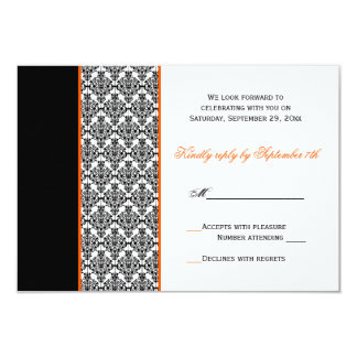 Black White Orange Damask RSVP Card