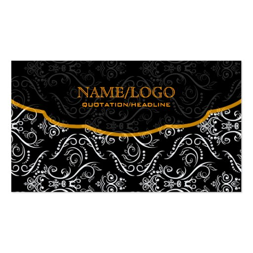 Black White Orange Fine Line Shading Pattern Business Card
