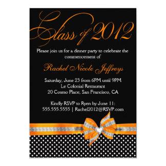 Black White Orange Polka Dot Graduation Invitation