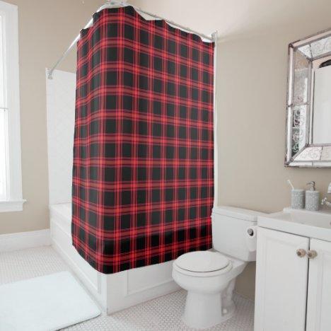 Black White Orange Raspberry Seamless Plaid Shower Curtain