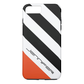Black, White, Orange Stripe with Custom Name iPhone 8 Plus/7 Plus Case
