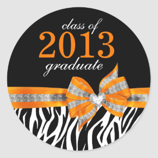 Black White Orange Zebra Graduation Seal Sticker