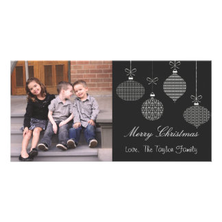 Black & White Ornament Christmas Photo Card