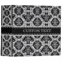 Black & White Ornate Baroque Design Pattern 3 Ring Binder