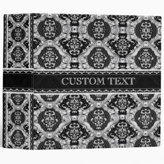 Black & White Ornate Baroque Design Pattern Binder