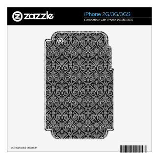 Black & White Ornate Baroque Floral Pattern Decals For The iPhone 3