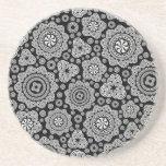 Black & White Ornate Circles Pattern Drink Coaster