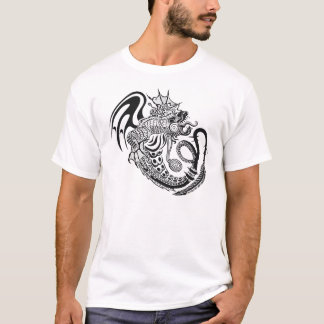 Black & White Ornate Dragon Design T-Shirt
