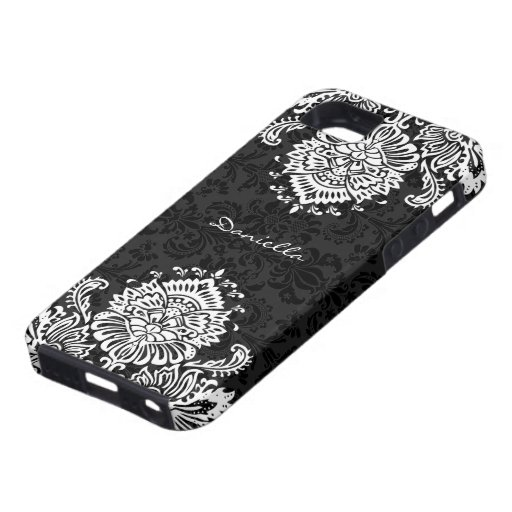 Black & White Ornate Floral Damasks-Monogram iPhone 5 Covers