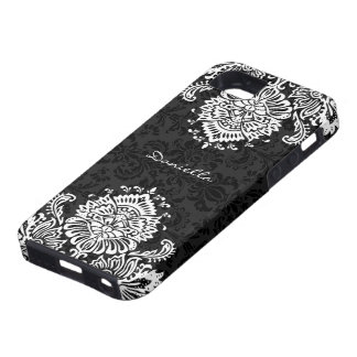 Black & White Ornate Floral Damasks-Monogram iPhone SE/5/5s Case