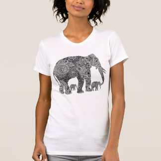 Black & White Ornate Floral Elephants Tee Shirt