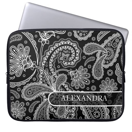 Black & White Ornate Floral paisley Pattern Computer Sleeve