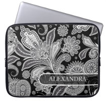 Black & White Ornate Floral  Pattern Laptop Sleeve