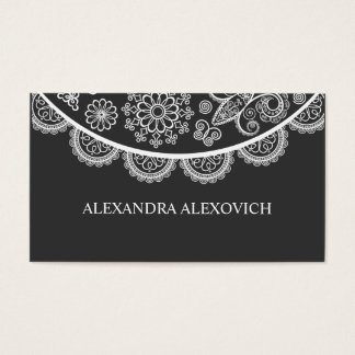 Black & White Ornate Lace Pattern Business Card