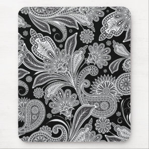 Black & White Ornate Paisley Pattern Mouse Pad