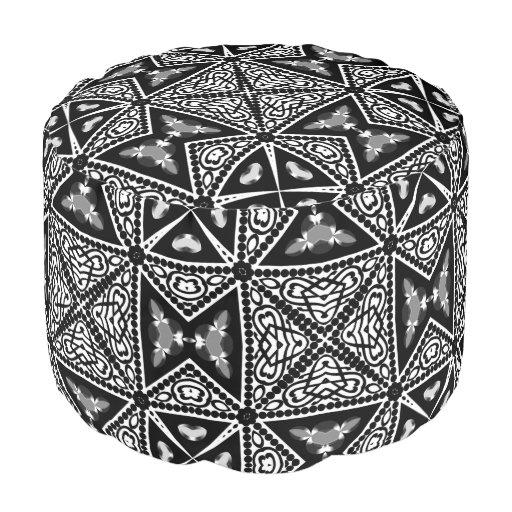 Black White Ornate Tribal Geometric Pattern Pouf