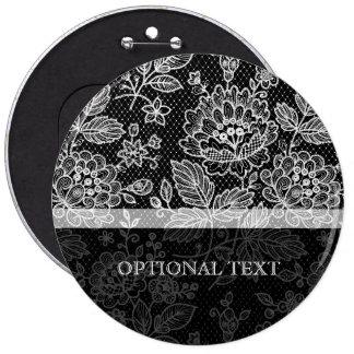 Black & White Ornate Vintage Floral Lace Pattern Buttons