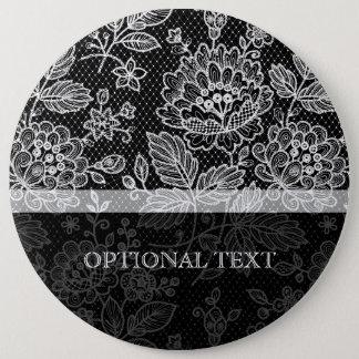 Black & White Ornate Vintage Floral Lace Pattern Pinback Button