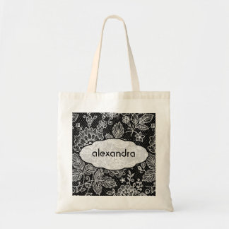 Black & White Ornate Vintage Floral Lace Pattern Tote Bag