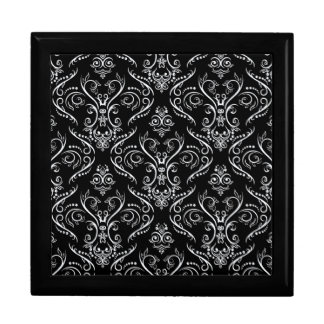 Black & White Ornate Vintage Lace Pattern Jewelry Box