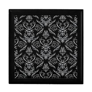 Black & White Ornate Vintage Lace Pattern Jewelry Box