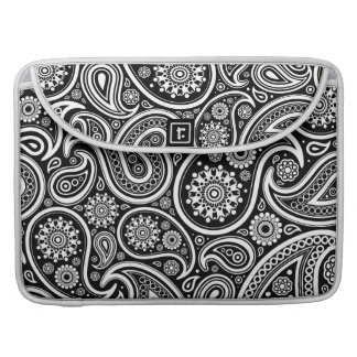 Black & White Ornate Vintage Paisley Design Sleeves For MacBook Pro