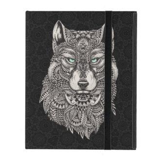Black & White Ornate Wolf Head Illustration iPad Case