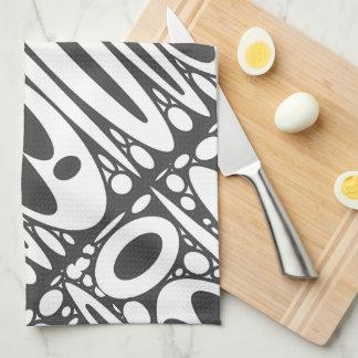 Black white ovals border hand towels