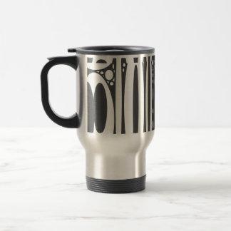 Black white ovals border print travel mug