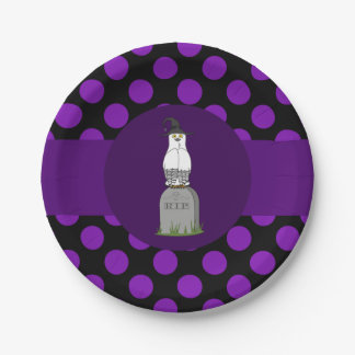 Black & White Owl on Grave Stone & Purple Dots 7 Inch Paper Plate