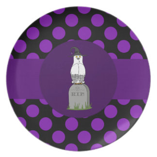 Black & White Owl on Grave Stone & Purple Dots Dinner Plate