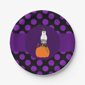 Black & White Owl Witch - Pumpkin with Purple Dots 7 Inch Paper Plate
