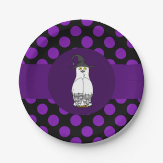Black & White Owl Witch with Purple Polka Dots 7 Inch Paper Plate