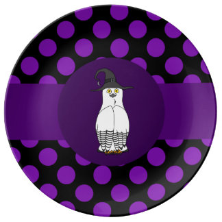 Black & White Owl Witch with Purple Polka Dots Porcelain Plate
