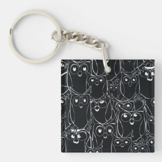 Black & White Owls in the Night Keychain
