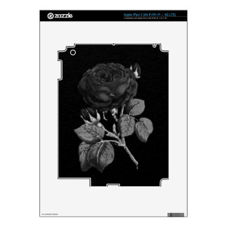 Black&White Painted Abstract Rose Skin For iPad 3