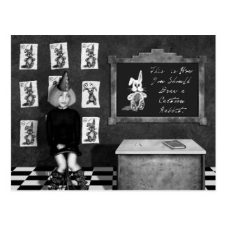 Black & White Painting of Art Student in Classroom Postcard