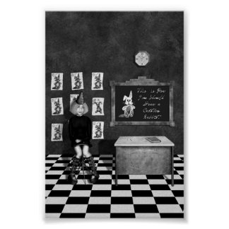 Black & White Painting of Art Student in Classroom Poster