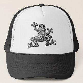 Black White Paisley Climbing Frog Trucker Hat