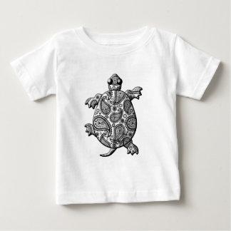 Black White Paisley Climbing Turtle Baby T-Shirt