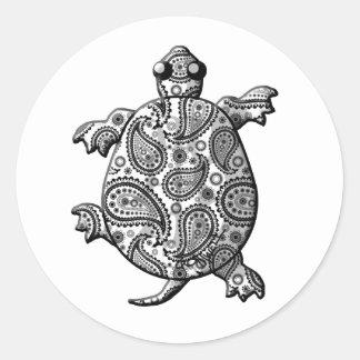 Black White Paisley Climbing Turtle Sticker