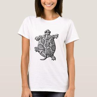 Black White Paisley Climbing Turtle T-Shirt